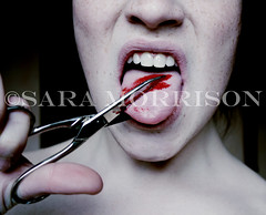 Just Shut up (Sara_Morrison) Tags: tongue blood lips scissors sangue forbici