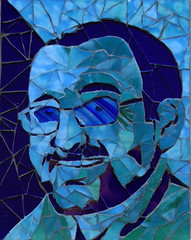 Finished. (laurainspain :)) Tags: portrait mosaic blues stainedglass laurapattison