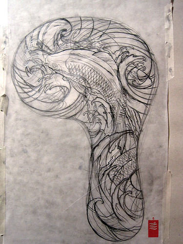 Koi Sleeve Tattoo first draft