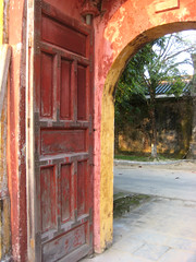orange-red door