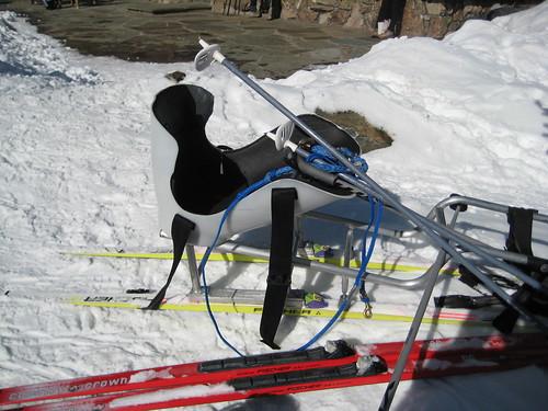 Sit-ski, poles, tether