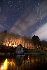 TheBoatHouse & TheStarTrail !! (Jcscoob) Tags: trees light fish reflection tree water night star scotland boat pond nikon dundee angus wide tokina fishin boatshed freezin d90 kingennie wellbank 1116 nikond90 1116mm tokina1116mm tokina1116 jcscoob