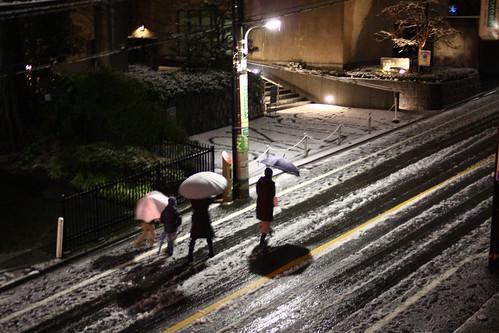 雪と親子連れ
