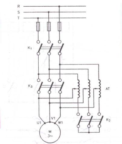 Schema  de  pornire  cu  autotransformator  a motoarelor asincrone
