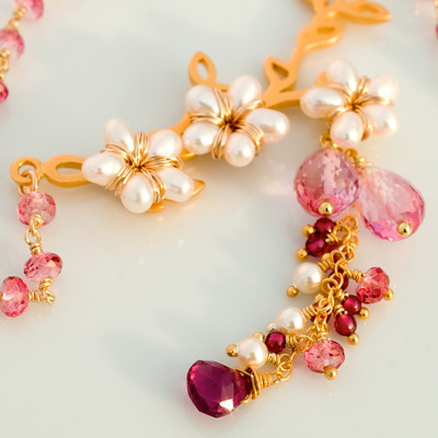 Cherry Blossoms with Pink Topaz and Pearl Flowers Handmade Necklace