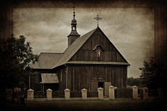 Somewhere in Wilkowyje ... (Beatrycze.) Tags: old summer brown texture church architecture last countryside wooden cross poland wielkopolska