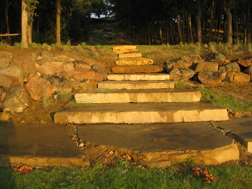 Constructed Large Stone Slab Steps