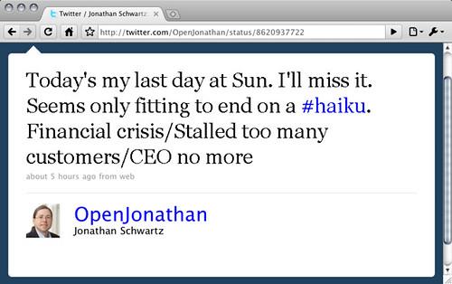 Jonathan Schwartz'  resignation Tweet