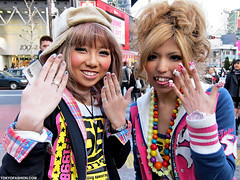 Japanese Nail Art Girls (tokyofashion) Tags: street girls cute fashion japan japanese tokyo colorful shibuya style nails blondehair stickingouttongue nailart streetfashion shibuyagirls japanesenailart
