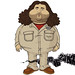 "illustration of hugo ""hurley"" reyes (jorge garcia) and the smoke monster from tv's LOST"