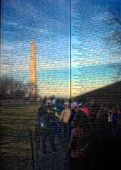 Vietnam Memorial with Washington Reflection (shiftdnb) Tags: etched reflection monument wall dc washington memorial war vietnam names dx d40x