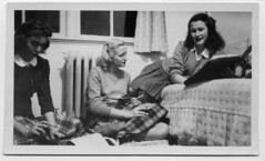 Typewriter, knitting, and a binder (Awkward Boy Hero) Tags: college typewriter oregon portland knitting university northwest cigarette dorm knees plaid oldphotos studying binder foundphotos antiquephotos somanyuniquetreasures exceptmaybenotoregon inconspicuouscigarette conservativeblouses conservativeskirts awkwardboyhero