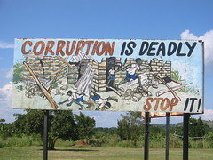 Ugandan anti-corruption sign (futureatlas.com) Tags: africa sign danger dangerous risk accident african billboard government uganda deadly shoddy corrupt corruption governance ugandan anticorruption