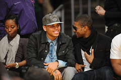 chris brown & usher @ the lakers celtic game