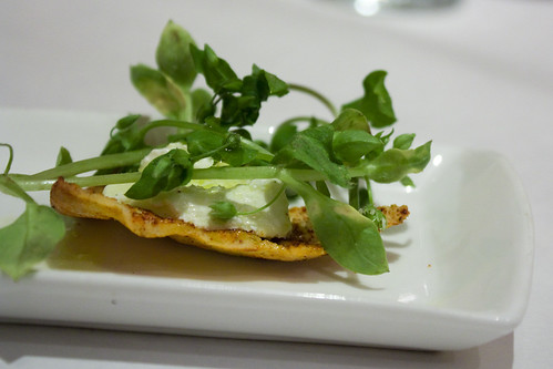 Pita Chip with Cheese and Chickweed