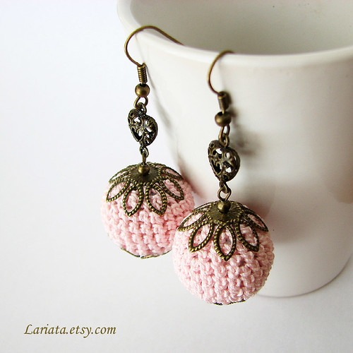 crochet bead earrings in pink