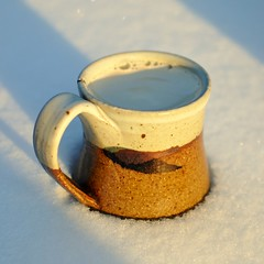 Iced Coffee (wiserbailey) Tags: snow hot cold ice cup coffee contrast ceramic hand iowa made mug espresso iced latte coralville