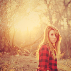 Forest Fires (-Fearless-) Tags: girl self portrait selfportrait sp flannel shirt hair lighting sunshine golden glow forest fire forestfire forestfires branches tree trees branch grasses field fields