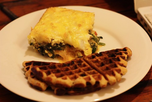 Swiss Chard Egg Bake and Waffles