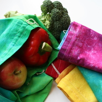 ~the simplicity of a rainbow~ set of 6 hand dyed organic muslin produce bags