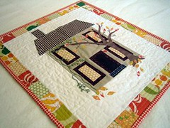 DQS8 - Autumn House front (sparklygreenknickers) Tags: autumn quilt miniquilt dqs8