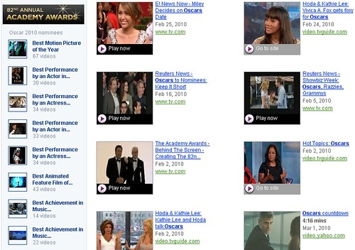 oscars on yahoo video search