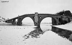 Sarakina (kzappaster) Tags: bridge winter bw snow film river pentax fisheye greece 16mm zenitar 400asa programa stonebridge c41 trikala guji thessaly kmount neopan400cn pinios sarakina