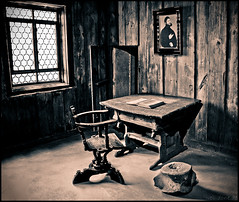Luther's Room (Alexander Steinhof) Tags: old white black castle history window monochrome museum sepia architecture canon vintage table eos chair ancient martin alt fenster raum room structure sephia schloss tisch schwarz stuhl burg luther wartburg eisenach weis