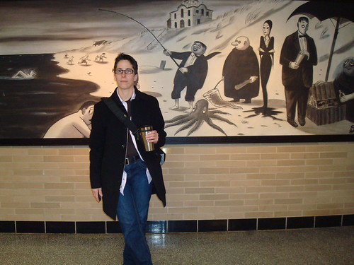 Alison B in front of Charles Addams ptg