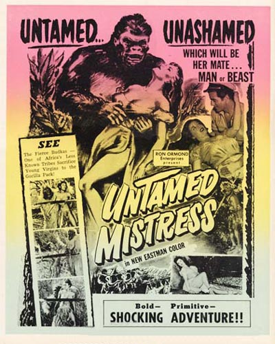 UNTAMED MISTRESS (1956) Window Card