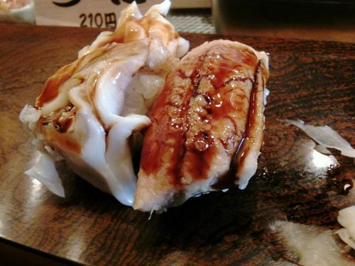 #tachinomi 浅草まぐろ人、ゲソ80円、あなご110 円。穴子ってほんと酒にあうなあ。