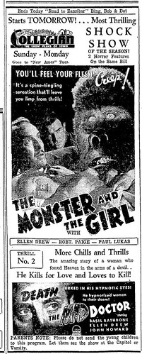 THE MONSTER AND THE GIRL (1941) Newspaper advertisement 05-3-41