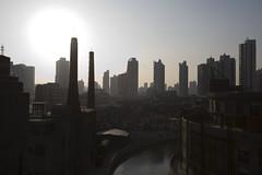 (arnd Dewald) Tags: china light sunset shadow chimney panorama concrete licht sonnenuntergang shanghai   abattoir schatten schornstein beton 1933  hongkou schlachthof smokepipe  shanghaiflickrmeet arndalarm zhnggu img7391e05eklein