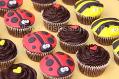 Ladybug & Bee Chocoholic Cupcakes (My Food Obsession) Tags: food cup cake recipe chocolate obsession fudge bee biscuit ladybug swirl cracker graham frosting fondant
