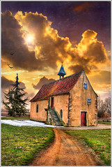The Red Door (Jean-Michel Priaux) Tags: sunset sky sunlight france art history church nature wall architecture illustration clouds photoshop painting way landscape nikon rocks pierre religion dream chapel peinture reddoor dreaming alsace nuage paysage glise chapelle hdr anotherworld clocher mattepainting mutzig d90 molsheim christianisme priaux mywinners abigfave vanagram