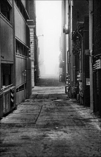 Alley fog bw (by Silver Image)