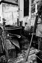 Fuori posto (federicodettoghigo) Tags: blackandwhite bw italy barca italia liguria vernazza borgo bianconero paesaggio pescatore composizione 5terre canoneos50d oltusfotos federicodettoghigo