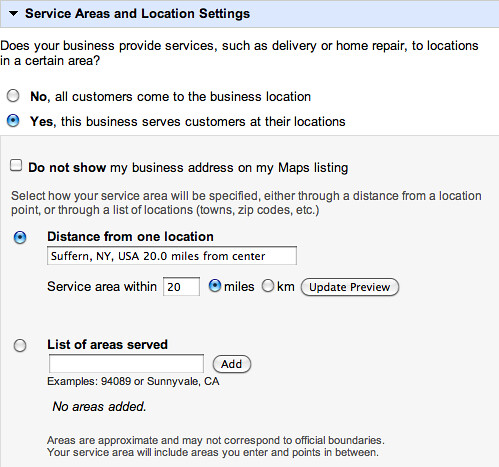 Google Maps Service Areas& Location Settings
