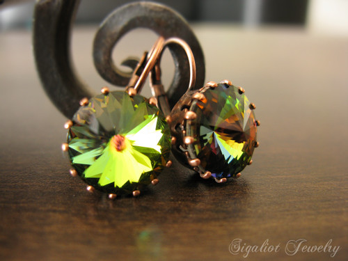 Vitrail Rivolis in a Copper Crown Earrings