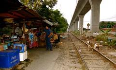 Life Under BTS II (sherrattsam) Tags: road people dogs thailand asia bangkok tracks skytrain toei bts klong thep toey krung petchbaburi