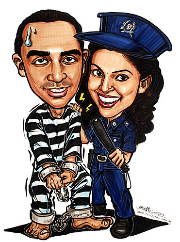 Couple caricatures - policewoman & prisoner