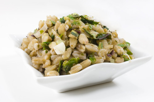 Bowl Green Garlic Farro and Greens Salad