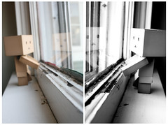 Scared to run out of time (Button Arcade) Tags: window toy diptych box revoltech danboard