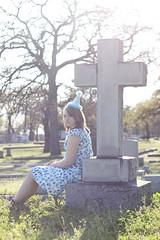 Shades of blue (Portia.Vanessa) Tags: life birthday blue trees beautiful cemetery graveyard hat death dress cross fuzzy sister tombstone shades polkadots spots ftworth hazey butnot 13yearsold sooc