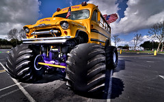 The Kool Bus (Matt Grans Photography) Tags: california charity nikon suburbia wideangle tokina event shoppingmall hotrod schoolbus fundraiser antioch 1224mm hdr monstertruck 57chevy cheesewagon badtothebone d90 tonemapped koolbus koolbusrides eddyhaemker monsterkoolbus