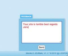 Mahalo Journal - feedback tab