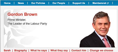 """Gordon Brown's """"website"""""""