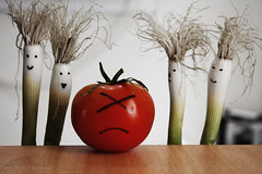 Don't Be Sad (MJ ) Tags: canon tomato happy eos sad creative vegetable onion 1855mm efs 2010 40d