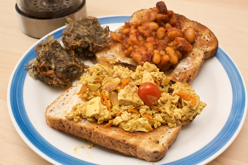 scrambled tofu, homemade baked beans and homemade rosti
