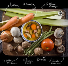 Soup of the Day (Tomatoskin) Tags: water tomato menu potatoes salt ingredients carrot onion kam frenchbeans celery homestudio soupoftheday canon50mm chickenbreast driedscallop buttonmushroom honeybakedham conpoy canoneos40d tomatoskin locationsg freshmushroom
